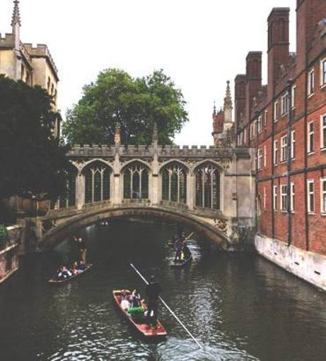 A river punting tour under a bridge on a Cambridge Stag Party.