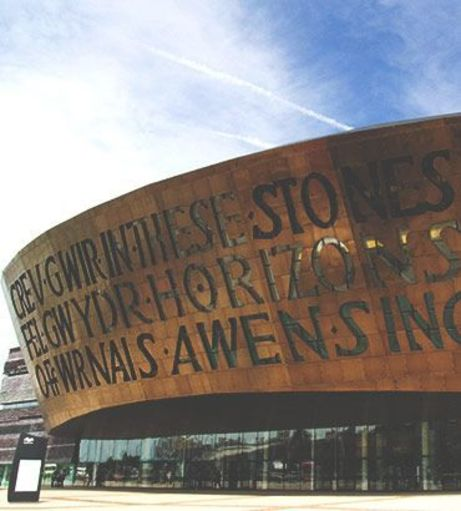 The Millennium Centre sign, see it on your Cardiff Stag Party.
