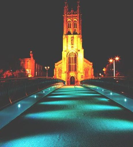 Derby Cathedral Quarter at night. Discover more Derby Stag Party Ideas below: