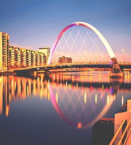 Clyde Arc bridge at night. Explore Glasgow Stag Party Ideas below: