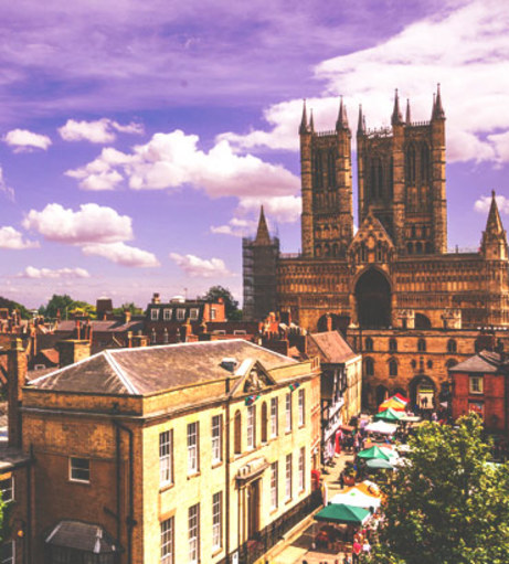 Picture over Lincoln Cathedral Quarter. Explore the Lincoln stag party packages: