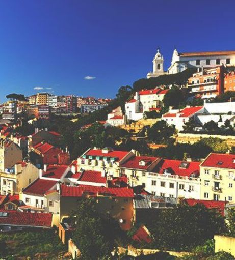 Deep blue skies over the Lisbon skyline. Explore Lisbon Stag Party ideas below:
