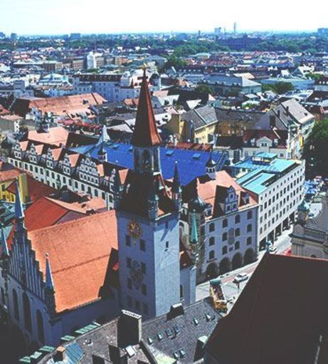 Munich skyline with colourful roofs. Discover Munich Stag Party ideas below: