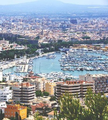 Cityscape view of the Palma de Mallorca Marina. Explore Palma Stag Party ideas below: